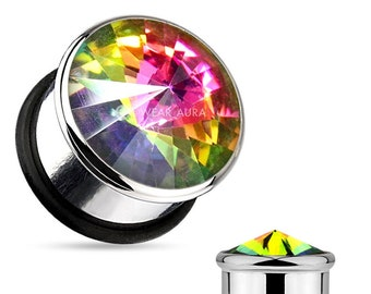 A Pair of Rainbow Crystal Plugs - AB Stone  Single Flare Plug with O-Ring