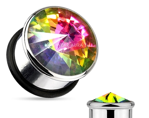 Rainbow Crystal Plugs - AB Stone 316L Surgical Steel Single Flare Plug with O-Ring Gauges (Pair)