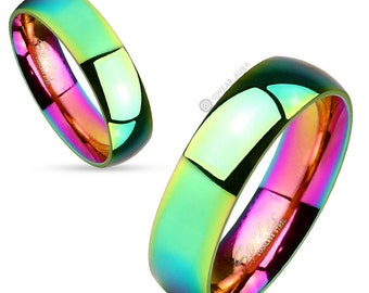 Rainbow Ring - Classic Dome Ring - 6mm Wide - Fashion Rings - Couple Ring - Wedding Band