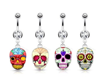 Sugar Skull Dangle Navel Ring | Day of the Dead | Halloween | Spooky | October Vibes | Goth Girl |