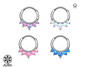 Opal Paved 5 Stone Round Septum Hanger Clicker Rook Daith Piercing Body Jewelry For Her 16GA Stylish Men's and Unisex 1 piece