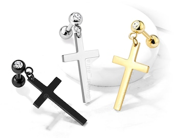 Single Cross Barbell Stud with Crystal Set Ball 316L Surgical Steel/Brass Gold Black Stylish Unisex Jewelry - Sold by the piece