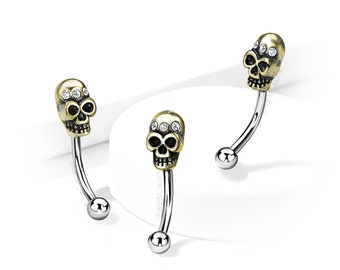 Skull Eyebrow Ring Antique Gold plated Brass with Crystal Accent Surgical Steel Curved Barbell