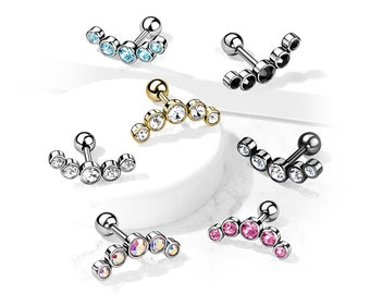 Crystal 5 Gem Cartilage Barbell Stud - Sold by the piece - 1 piece