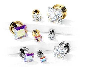 A Pair Of Aurora Borealis or Clear Square Crystal Tunnel Gauges | Screw Fit Flesh Tunnels, Zircon Stone, Prong Set Front, Gold + Steel