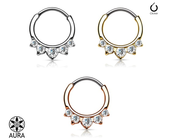 Crystal 5 Stone Round Septum Hanger Clicker Rook Daith Piercing Body Jewelry 16GA Tribal Girls with Piercings Summer Festival Sparkling