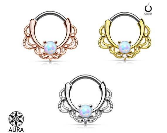 Opal Stone and Lace Style Round Septum Hanger Clicker Rook Daith Piercing Body Jewelry 16GA Tribal Girls with Piercings Summer Festival