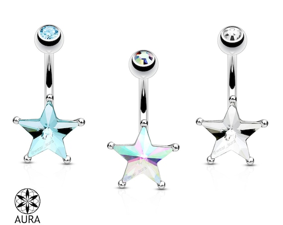 Crystal Star Aurora Borealis  Blue Clear Belly Button Navel Ring Piercing Body Jewelry Celestial Sparkle Iridescent Gift for Her