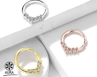 Crystal V Shaped Round Bendable Ring for Septum Tragus Cartilage Piercings Platinum + 14k Gold Rose Gold Plated Over Brass for easy bending