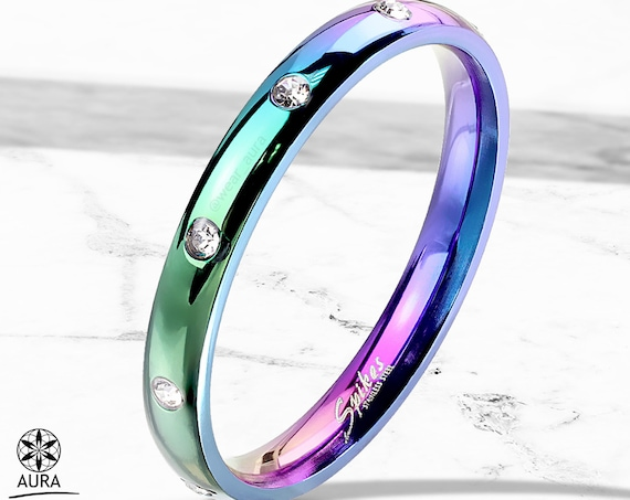 Rainbow Ring 3 -- Sparkling Cubic Zirconia! Couple Ring Wedding Band Lesbian Gay Pride LGBT Ally Trans Love Friendship Equality Holographic