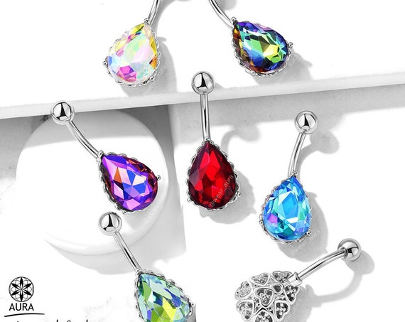 AB Crystal Tear Drop Gem with Silver Heart Filigree Encasing 14GA Navel Ring Non-Dangle 316L Surgical Steel Belly Button Navel Rings
