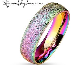 Rainbow Ring 2 -- High Sparkle Sand Blast Finish