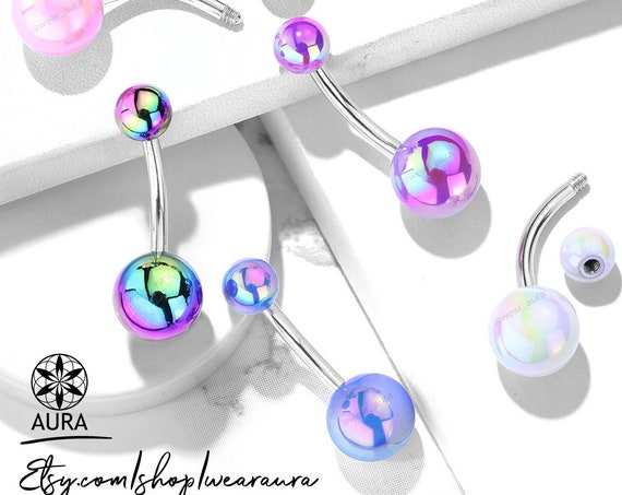 Iridescent Metallic AB Coated Belly Ring 14GA Body Jewelry,316L Surgical Steel Navel Ring Piercings