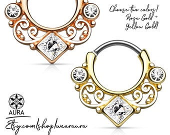 Lace Swirl Square CZ Gold Rose Gold Septum Clicker Daith Piercing Rook Earring Hoop Body Jewelry Tribal Style - 1 piece