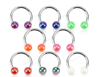 Horseshoe Hoop Aurora Borealis Coating Over Acrylic Balls Circular Ring for 16GA for Nipple Septum Ear Cartilage Piercings Daith and more.