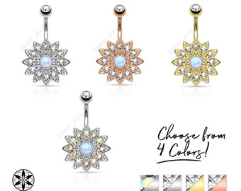 Paved Crystal Flower with Opal Center Navel Ring 14GA Gold, Rose Gold, Silver Plated Brass Flower, Steel bar & ball, Belly Button Piercing