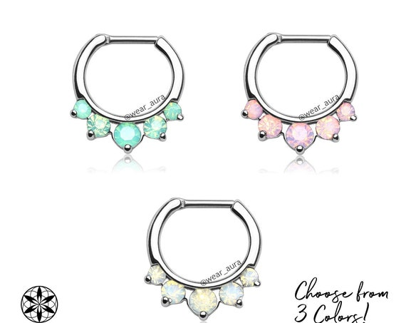 Five Stone Opalite Septum Clicker Ring 16GA Daith Rook Septum Bar Hanger Piercing Clicker Jewelry White Opalite Pink Jade Green Silver