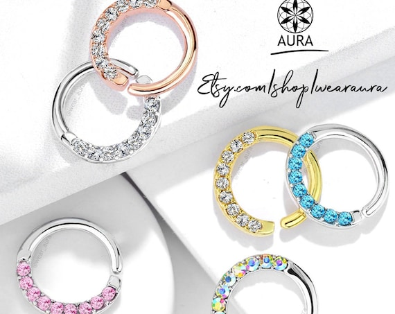 Crystal Half Circle Lined Cubic Zirconia Set Bendable Hoop Rings for Septum, Ear Cartilage, Daith and More Girls with Piercings Nose Ring