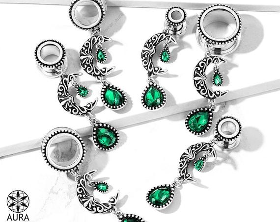 Dangle Gauges Moon Charm Luna Filigree Crescent Moon with Emerald Green Gem Glass Crystal Flesh Tunnel Gauges Body Jewelry Boho Celestial