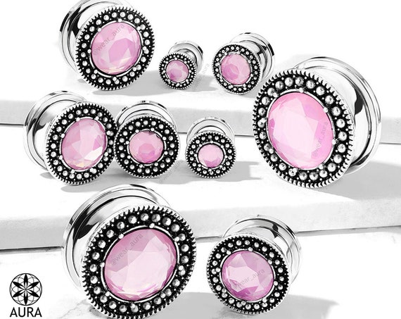 "Pink Glass Crystal in Antique Silver Screw Fit Flesh Tunnel Gauges Body Jewelry  Boho Festival Fashion Summer Style large sizes 3/4"" 7/8"" 1"""