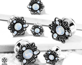 A Pair Of White Opalite Crystal Set in Antique Silver Flower Double Flared Tunnel | Plated brass face, steel tunnels