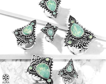 A Pair of Jade Green Opalite Crystal Tear Drop Set in Plated Brass Tribal Shield Bohemian Double Flared Steel Tunnel Plugs