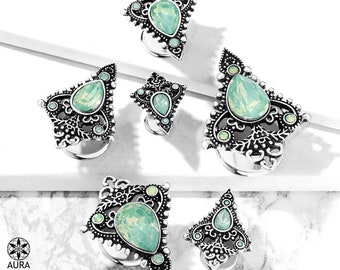 A Pair of Jade Green Opalite Crystal Tear Drop Set in Antique Silver Tribal Shield Bohemian Double Flared Tunnel Plugs