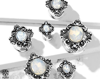 A Pair Of White Opalite Crystal Oval Set in Antique Silver Filigree Bohemian Double Flared Tunnels | Gauges Body Jewelry