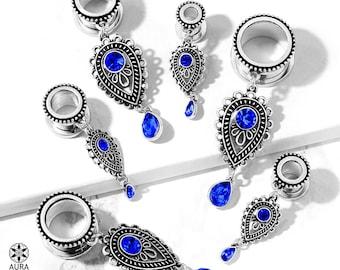 A Pair Of Dangle Gauges Screw Fit Flesh Tunnel Faux Sapphire Blue Gem Tear Drop Charm Body Jewelry Modern Boho Paisley Southwestern