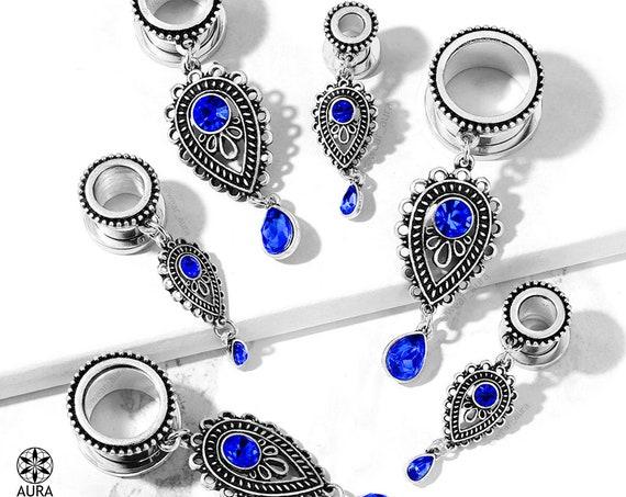 Dangle Gauges Screw Fit Flesh Tunnel Faux Sapphire Blue Gem Tear Drop Charm Body Jewelry Modern Boho Paisley Southwestern Festival Fashion