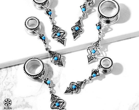 Turquoise Tribal Charm Dangle Screw Fit Flesh Tunnel Gauges Body Jewelry Modern Boho Western Summer Festival Fashion Stylish Unique for Her
