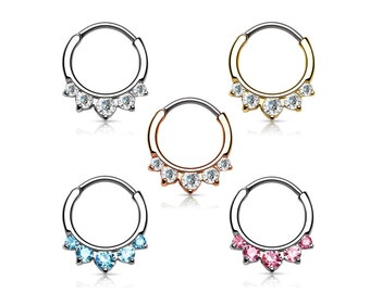 Crystal 5 Stone Round Septum Hanger Clicker Rook Daith Piercing Body Jewelry 16GA (1 piece)
