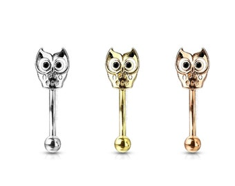 Owl Eyebrow Ring - Gold, Rose Gold, Steel - Sold by the piece - 1 piece