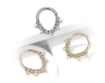 Heart Filigree Crystal Bendable Hoop for Daith, Cartilage, Septum, and more. Platinum or 14kt Gold plated Brass, Sold by the piece - 1 piece