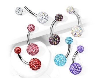 Crystal Paved Belly Ring Navel Curved Barbell Internally Threaded, 316L Surgical Steel, Epoxy Coated Crystal Paved Balls, Sold by the Piece