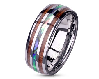 Men's Tungsten Carbide Ring with Wood and Abalone Inlays Wedding Band 8mm * Large sizes * US size 9-13 Sold by the piece - NO engraving