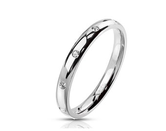 Classic Dome Ring 3mm Wide set with CZ | Stainless Steel -- Sparkling Cubic Zirconia! Couple Ring Wedding Band