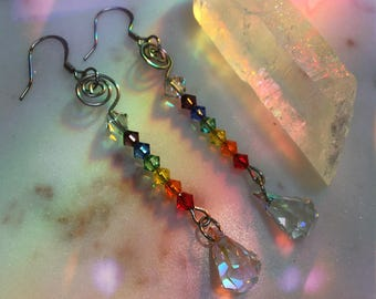 Rainbow Pride Sun catcher Iridescent Crystal Prism Earrings- Crystal Earrings OOAK