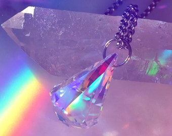 "Prism Diamond Drop Crystal Pendant Necklace Genuine Swarovski Crystal 24mm x 15.5mm Raindrop Pendant 18"" Stainless Steel Rolo Chain"