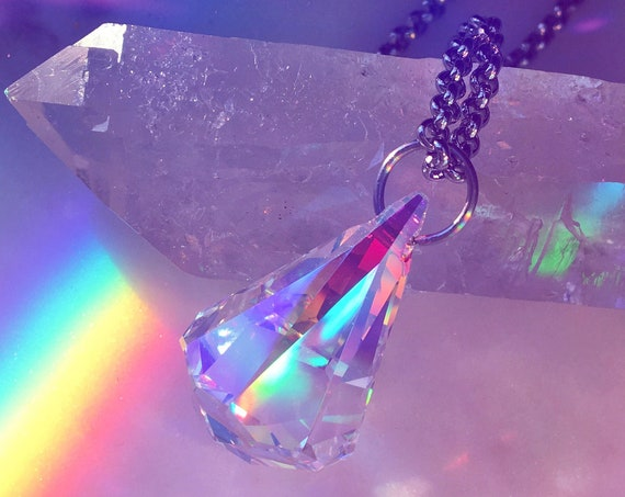 Prism Diamond Drop Swarvoski Pendant Necklace