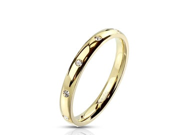 Classic Dome Ring 3mm Wide set with CZ | Plated Gold IP - Stainless Steel -- Sparkling Cubic Zirconia! Couple Ring Wedding Band
