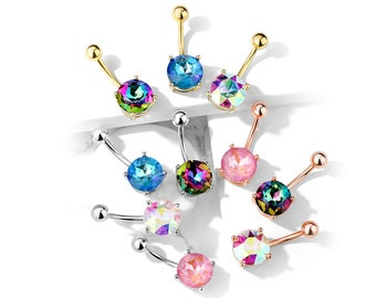 Aurora Crystals Belly Button Ring, Navel Jewelry, 10 Colors to choose from (10mm Large Bottom Gem)