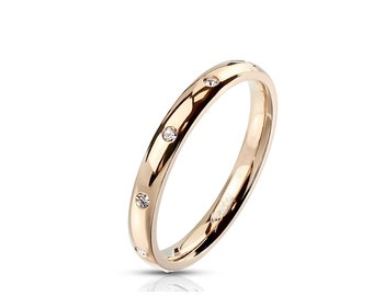 Classic Dome Ring 3mm Wide set with CZ | Plated Rose Gold IP - Stainless Steel -- Sparkling Cubic Zirconia! Couple Ring Wedding Band