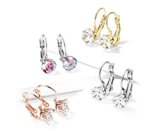 A Pair of Round Cubic Zirconia Lever Back Earrings - Prong Set Crystal - Aurora Borealis, Steel, Gold, Rose Gold