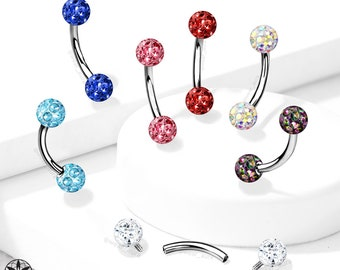 Crystal Paved Eyebrow Curved Barbells, Internally Threaded, 316L Surgical Steel, Epoxy Coated Crystal Paved Balls, Sold by the Piece