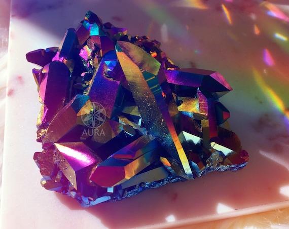 Aura Quartz | Titanium Aura Quartz , Rainbow Aura Quartz Cluster, Metaphysical Crystals, Reiki ,Empath Crystal Magick, Healing, Divination