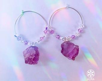 Amethyst Crystal Hoop Earrings -- Swarovski Crystal and Sterling Silver Hoop Earrings