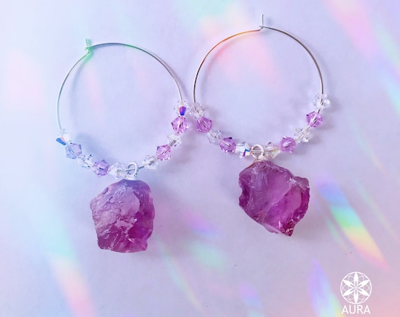 Amethyst Crystal Hoop Earrings -- Swarovski Crystal and Sterling Silver Hoop Earrings