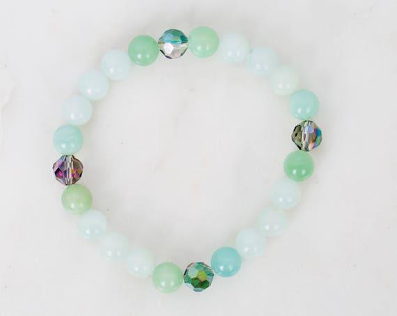 Amazonite and Glass Bead Stretch Bracelet