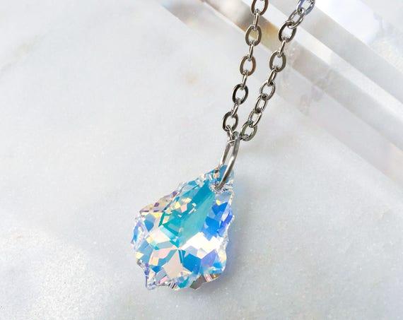 Iridescent Aurora Borealis Swarovski Baroque Pendant Necklace, Sparkling Prism Sun Catcher Crystal Pendant